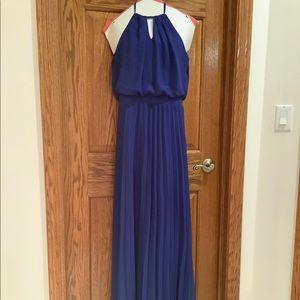 Blue Pleated Maxi Halter Dress NWOT